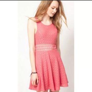 Free People Pink Daisy Crochet Lace Skater Dress 2
